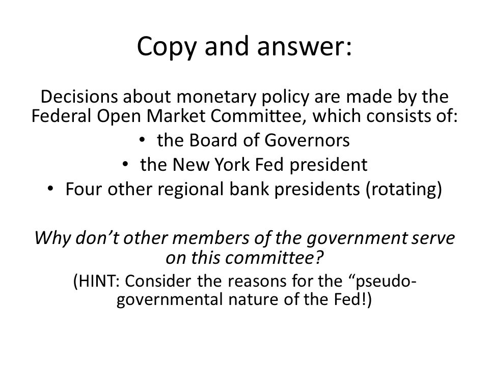 Functions of the Federal Reserve 1.Provide Financial Services – Banker's bank that holds reserves, clears checks, provides cash, and transfers funds for commercial banks – Also acts as banker and fiscal agent for the U.S.