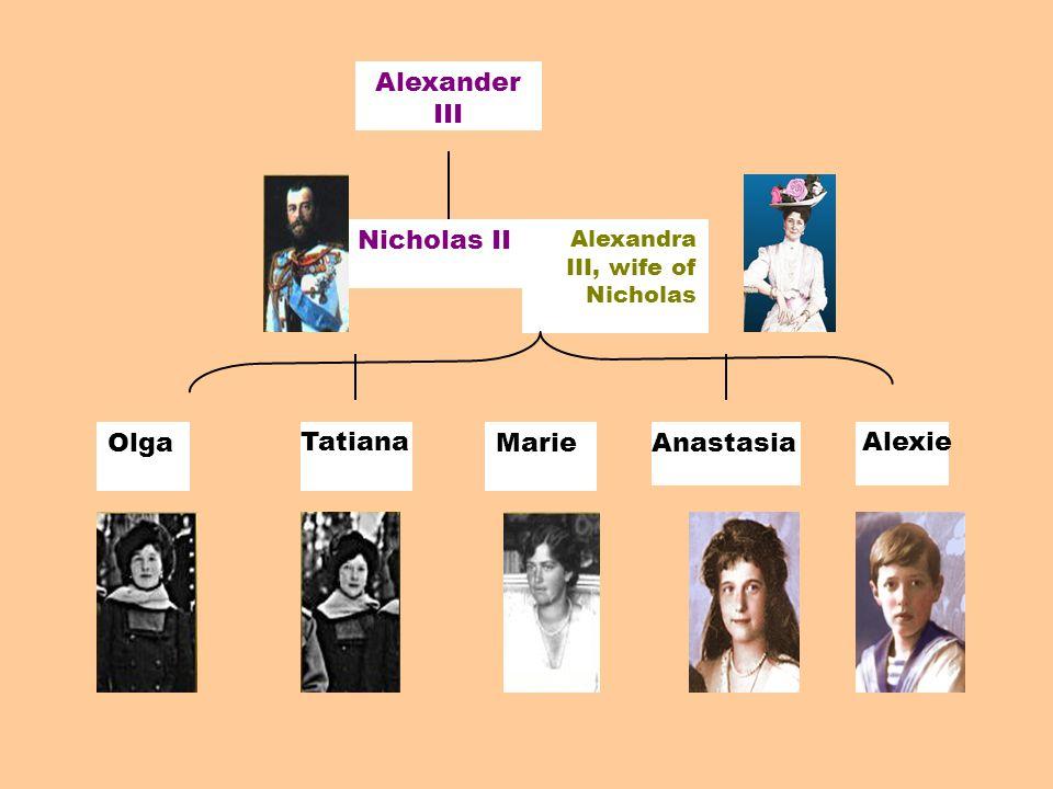 Alexander III Nicholas II OlgaMarie Alexandra III, wife of Nicholas TatianaAnastasiaAlexie