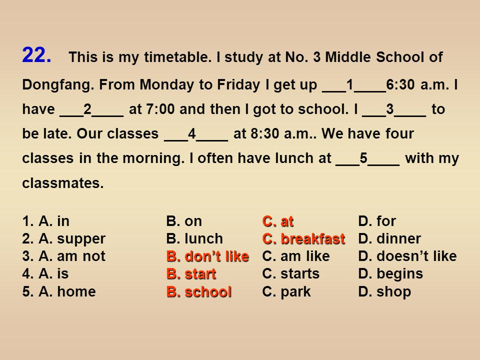 ___6____ the afternoon, we have two classes.Classes are over at 3:30, and I get home at 4:00.