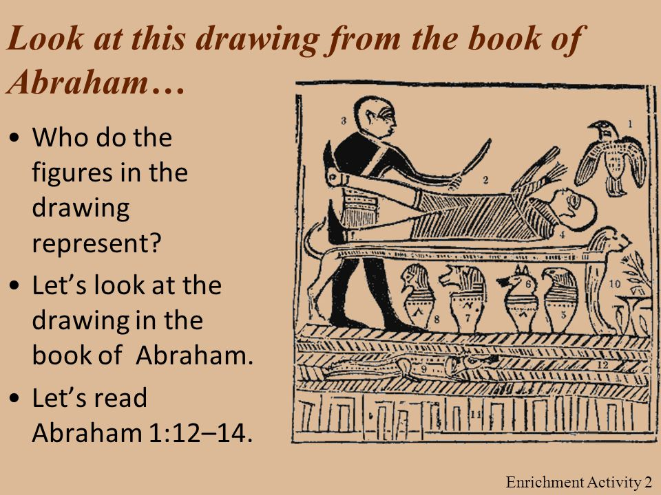 Look at this drawing from the book of Abraham… Who do the figures in the drawing represent.
