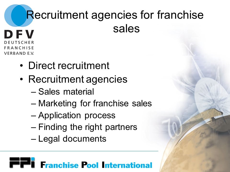 The need of a Franchise Competence Center General Franchise consulting Franchise development Franchise recruitment Franchise financing Franchise marketing Franchise training