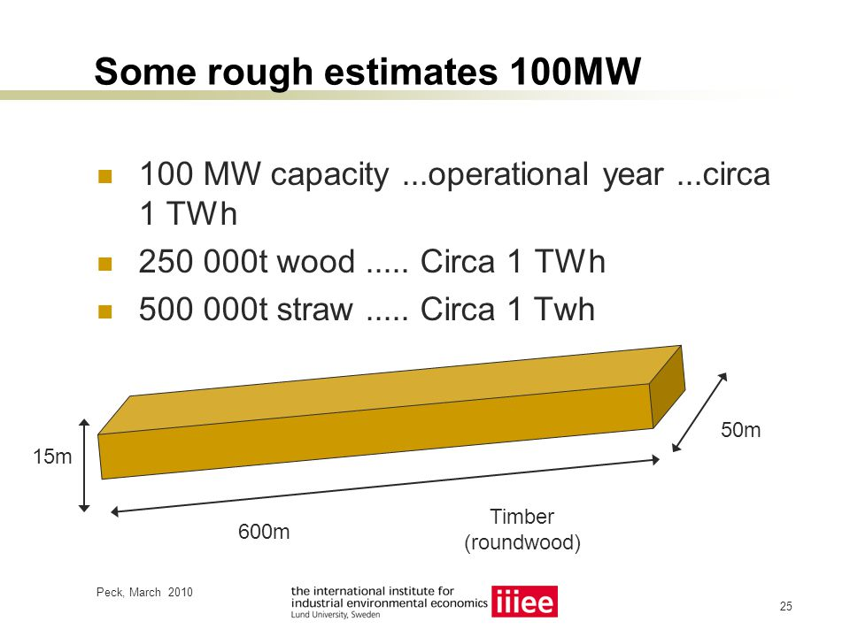 Peck, March 2010 26 This much wood every year? (200MW capacity?) ~ 500 000m 3 solid wood (???)