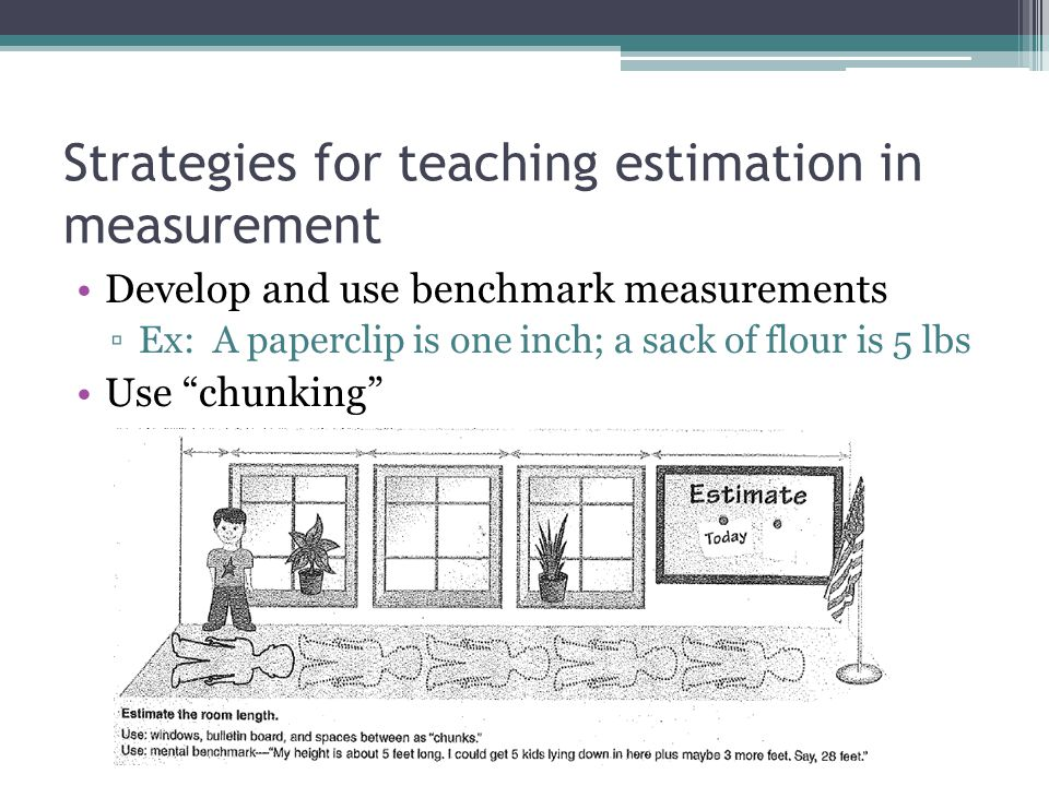 Strategies for teaching estimation in measurement Iterate a unit mentally or physically.