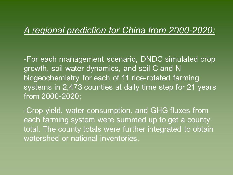 DNDC-Predicted Total Emissions of CH 4 from Rice Yields in China in 2000-2020: Baseline v.