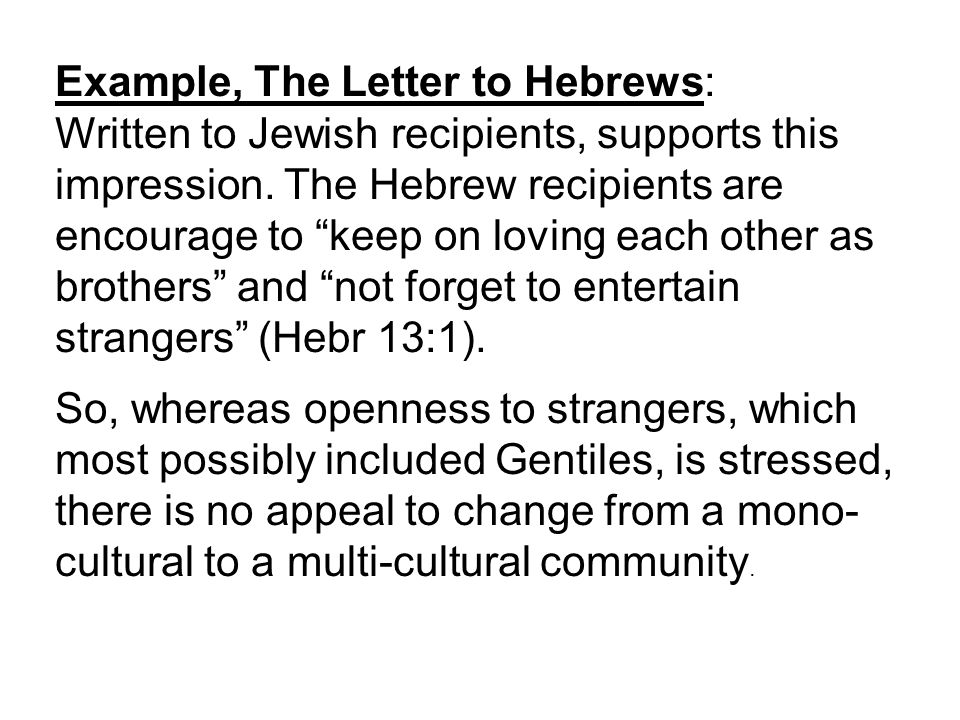 Statement 3: NT guidelines regarding multicultural congregations