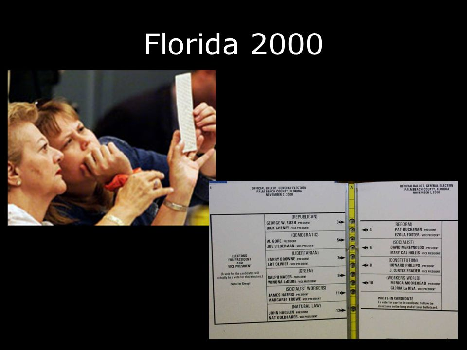 HAVA 2002 $3.8B for states to replace punch card and lever machines –To receive money, state must produce a plan to replace machines by first 2006 election Replacement machines must: –Notify voters of overvotes –Be accessible to disabled (including blind) voters (at least one per precinct)