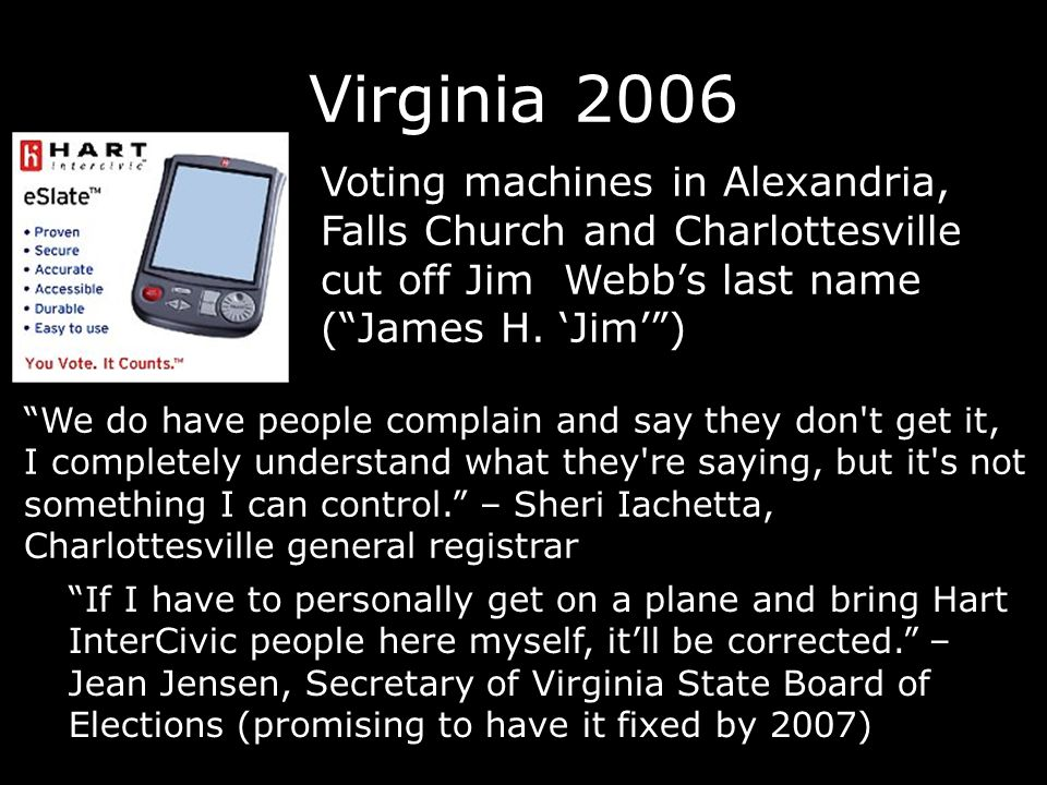 Sarasota, FL 2006 Christine Jennings (D) lost by 373 votes out of 237,861 18,000 voters no vote (13% compared to 2% in other counties) Hundreds of voters claim to have selected Jennings, but nothing selected on review page Recount underway