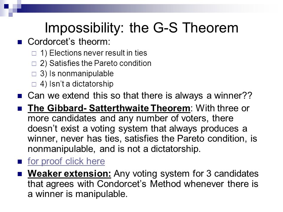 The Chair's Paradox The fact that with three voters and three candidates, the voter with tie-breaking power (the 'chair') can, if all 3 voters act rationally in their own self-interest, end up with her or his least- preferred candidate as the election winner Each voter gets to vote for one of the candidates.
