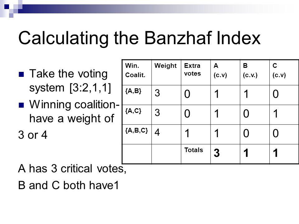 Calculating the Banzhaf Index Block.WeightExtraA (c.v)B (c.v)C (c.v) {A}20100 {B,C}20011 {A,B}31100 {A,C}31100 {A,B,C}42000 Totals:311