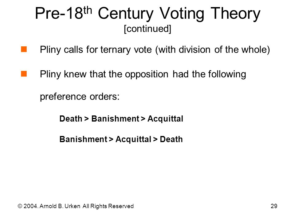 © 2004.Arnold B. Urken All Rights Reserved30 Pre-18 th Century Voting Theory [continued] Why.