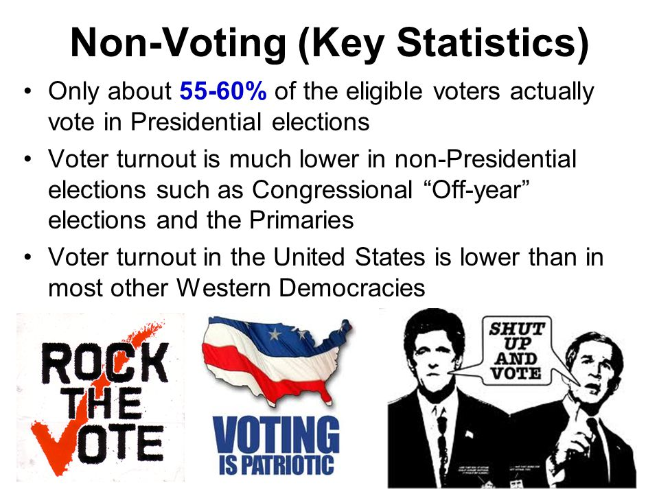 1.Voter Registration Laws 2.Burden of Registration 3.Voter Apathy 4.Frequent Elections, Long Ballot 5.Election Days 6.State Laws 7.Long Lines 8.Satisfaction Factors that Decrease Voter Turnout Why Vote…it really doesn't matter!