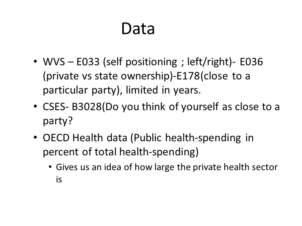 Method A cross section analysis (aggregated data) See if there is any correlation between health- spending and the attitudes of the different data surveys See if health spending is close to the preferences of voters who are not close to a political party