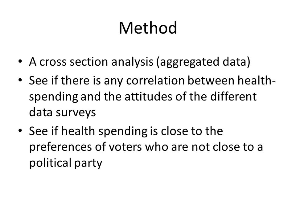 Hypothesis H0: The size of private health care is controlled by the preferences of unsure voters Ha: The size of private health care is controlled by the different parties' ideological standpoint
