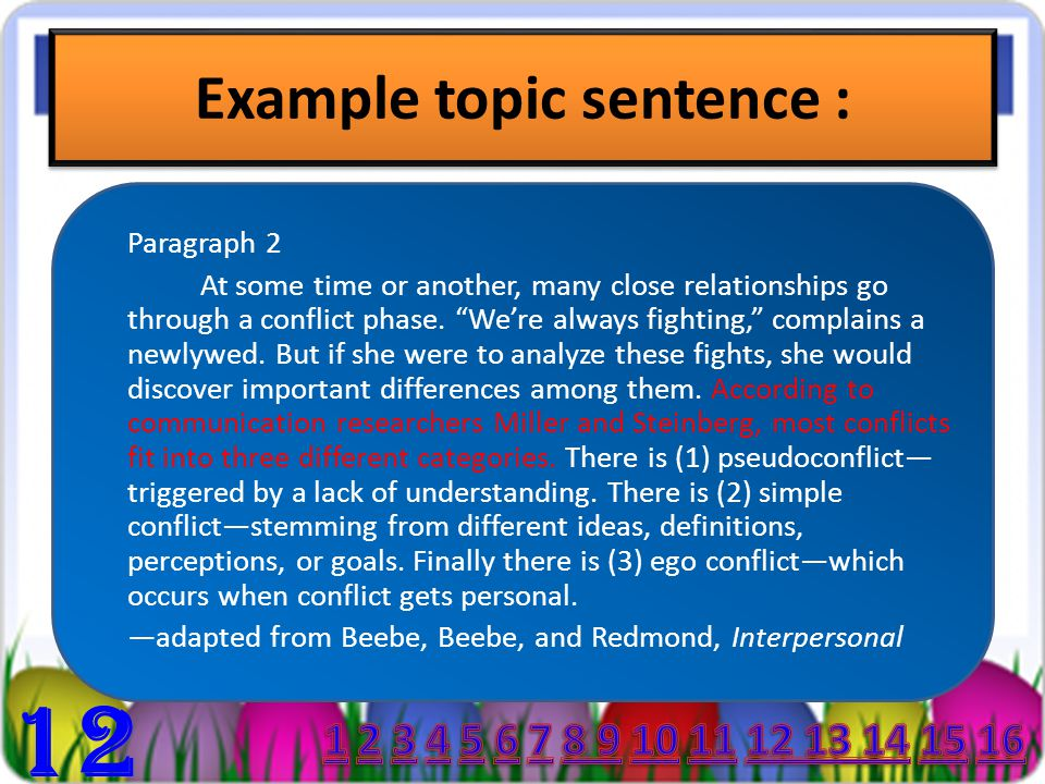 Example topic sentence : Paragraph 2 At some time or another, many close relationships go through a conflict phase.