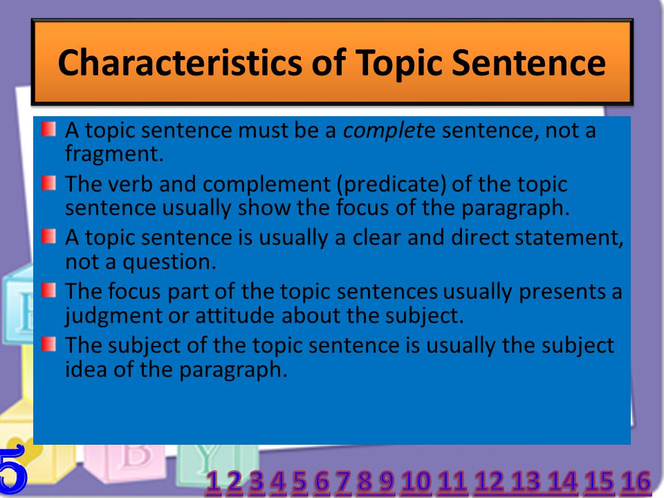 Characteristics of Topic Sentence 5