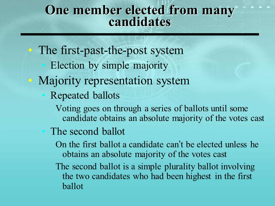 Election of two or more members The single non-transferable vote Each voter has one vote Multiple vote Each voter has as many votes as the number of seats to be filled Voters can't cast more than one vote for each candidate Limited vote Each voter has a number of votes smaller than the number of seats to be filled Voters can't cast more than one vote for each candidate