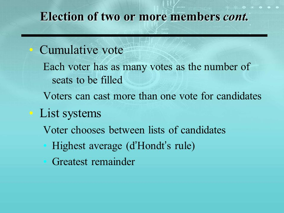 Election of two or more members cont.