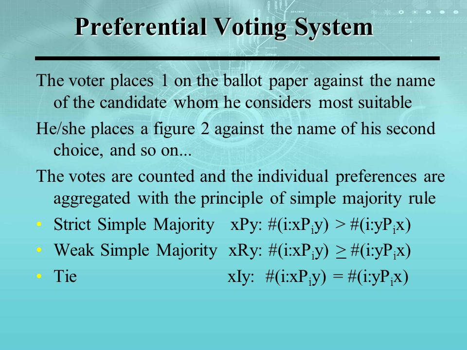 Preferential Voting System More than Two Alternative Case: According to Condorcet Principle, if a candidate beats every other candidate under simple majority, this will be the Condorcet winner and there will not be any paradox of voting