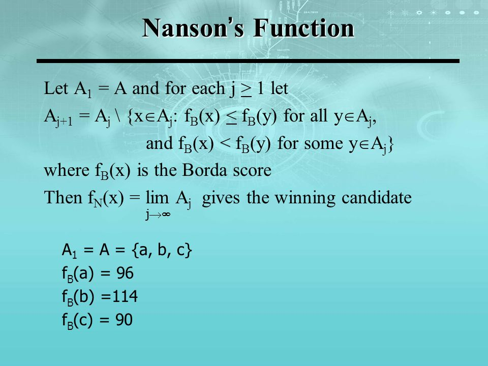 Nanson's Function Candidate c is eliminated as s/he has the lowest score: A 2 = {a, b} 38 votes: 'a P b' 28 votes: 'b P a' 17 votes: 'a P b' 14 votes: 'b P a' 3 votes: 'b P a' f B (a) = 55 f B (b) = 45 Candidate b is eliminated and candidate a is the winner: a P b P c