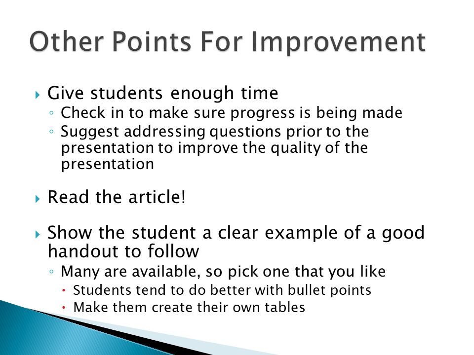  In order to properly evaluate the student's critique, you need to have identified the key points that should have pointed out ◦ What are the results.