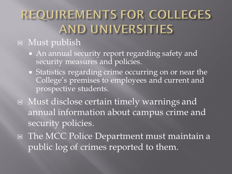  Non-compliance can have a negative impact on the College's ability to maintain financial aid.