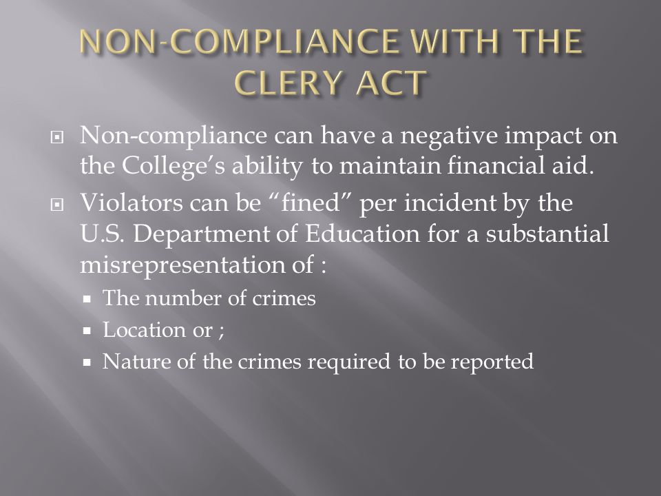  Requires colleges and universities to compile and publish crime statistics regarding their campuses.