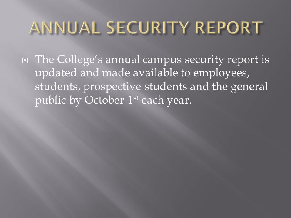  Crime Statistics for the three previous calendar years for the College and other required locations.