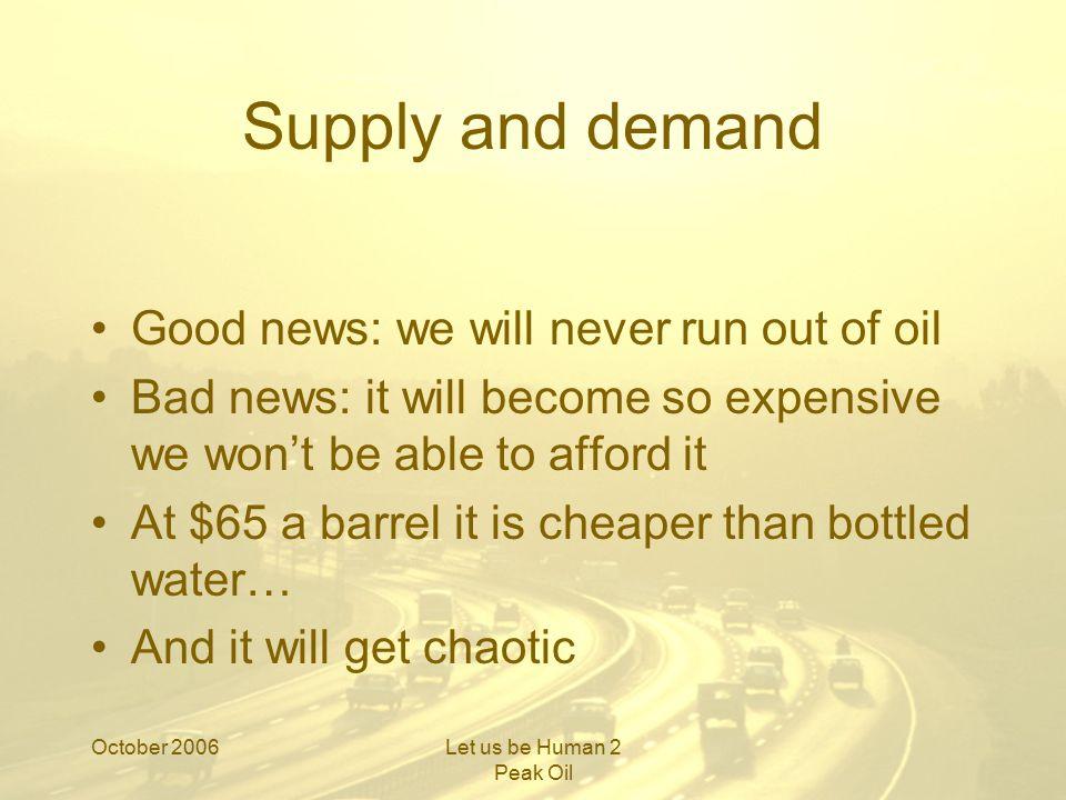 October 2006Let us be Human 2 Peak Oil