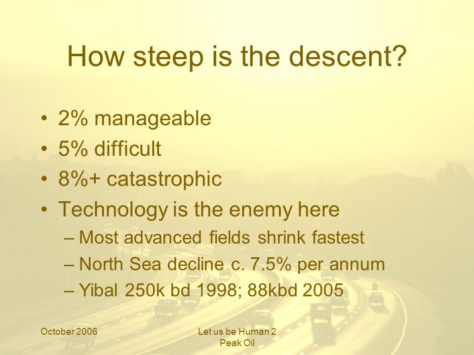 October 2006Let us be Human 2 Peak Oil How steep is the descent?