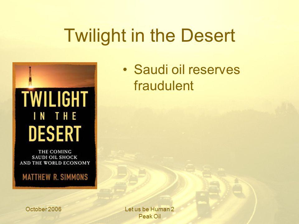 October 2006Let us be Human 2 Peak Oil Opec reserves
