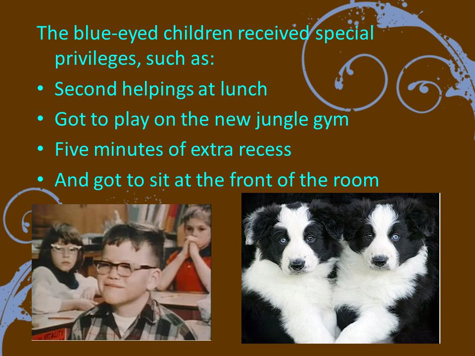 The blue-eyed children were encouraged to only play with blue-eyed children and ignore brown-eyed children.