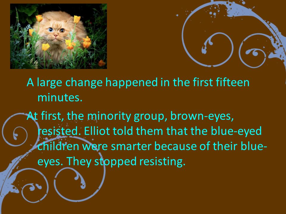 The blue-eyes became bossy and arrogant, while the brown-eyes became timid and obedient.