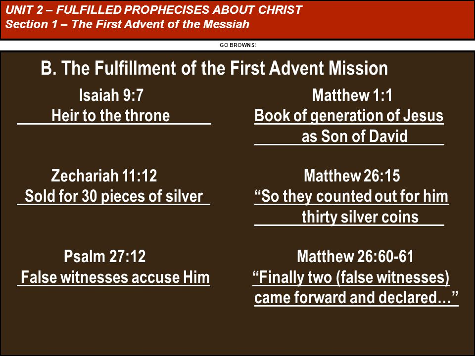 UNIT 2 – FULFILLED PROPHECISES ABOUT CHRIST Section 1 – The First Advent of the Messiah GO BROWNS.