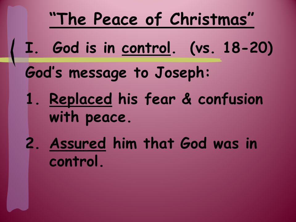 The Peace of Christmas II.God has done & still does.