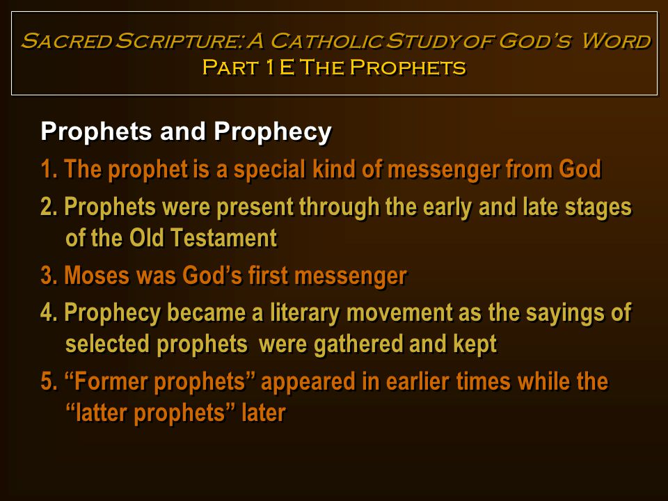 Major Prophets versus Minor Prophets The difference is related to the length of the book and not the importance of the prophet or his message Major Prophets versus Minor Prophets The difference is related to the length of the book and not the importance of the prophet or his message Sacred Scripture: A Catholic Study of God's Word Part 1E The Prophets Major prophets Minor prophets Isaiah Jeremiah Ezekiel Hosea Joel Amos Obadiah Jonah Micah Nahum Habakkuk Zephaniah HaggaiZechariah Malachi