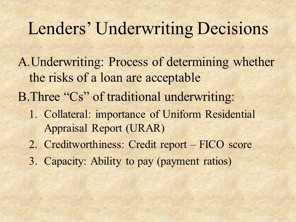 Lenders' Underwriting Decisions