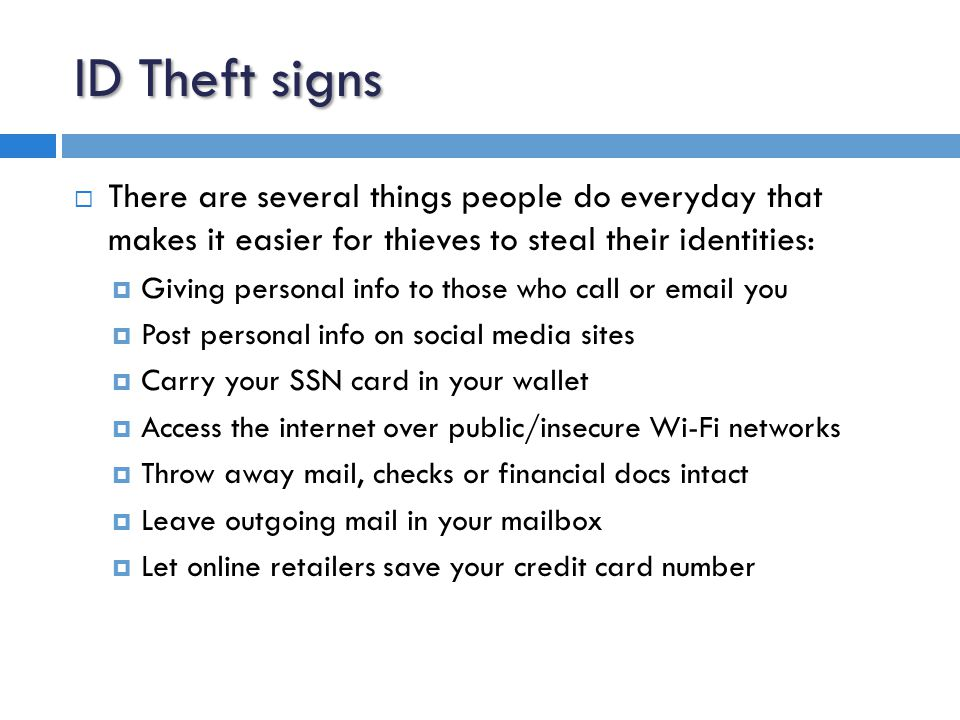 What is ID Theft used for.
