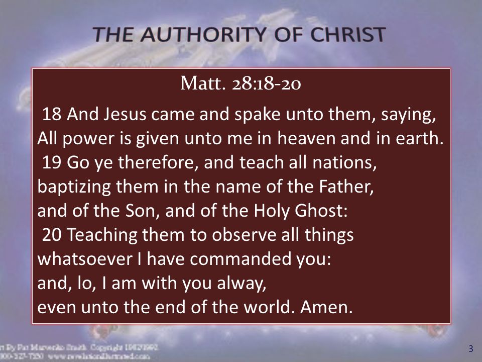 4 Introduction: 2.T o understand & apply the authority of Christ: I.