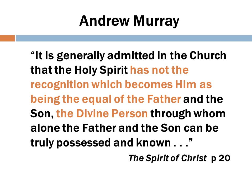 The Spirit as Person  Institute Bible Studies (March/April 1896)  Holy Spirit in our Schools.  EGW first time in print uses He (May 10, 1896)