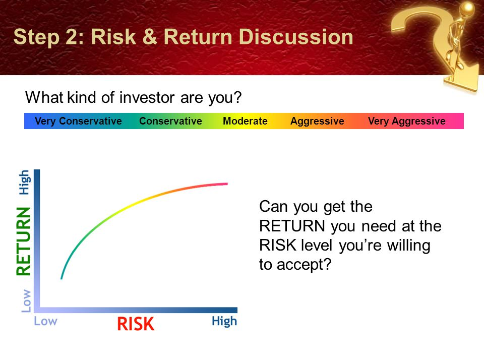 Step 2: Risk & Return Discussion What's the right balance so you can...