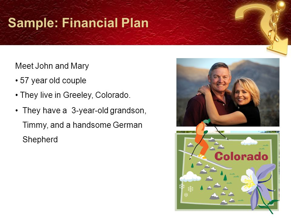 Sample: Financial Plan Acceptable Range Retirement AgeIdealAcceptableHow willing are you to retire later.