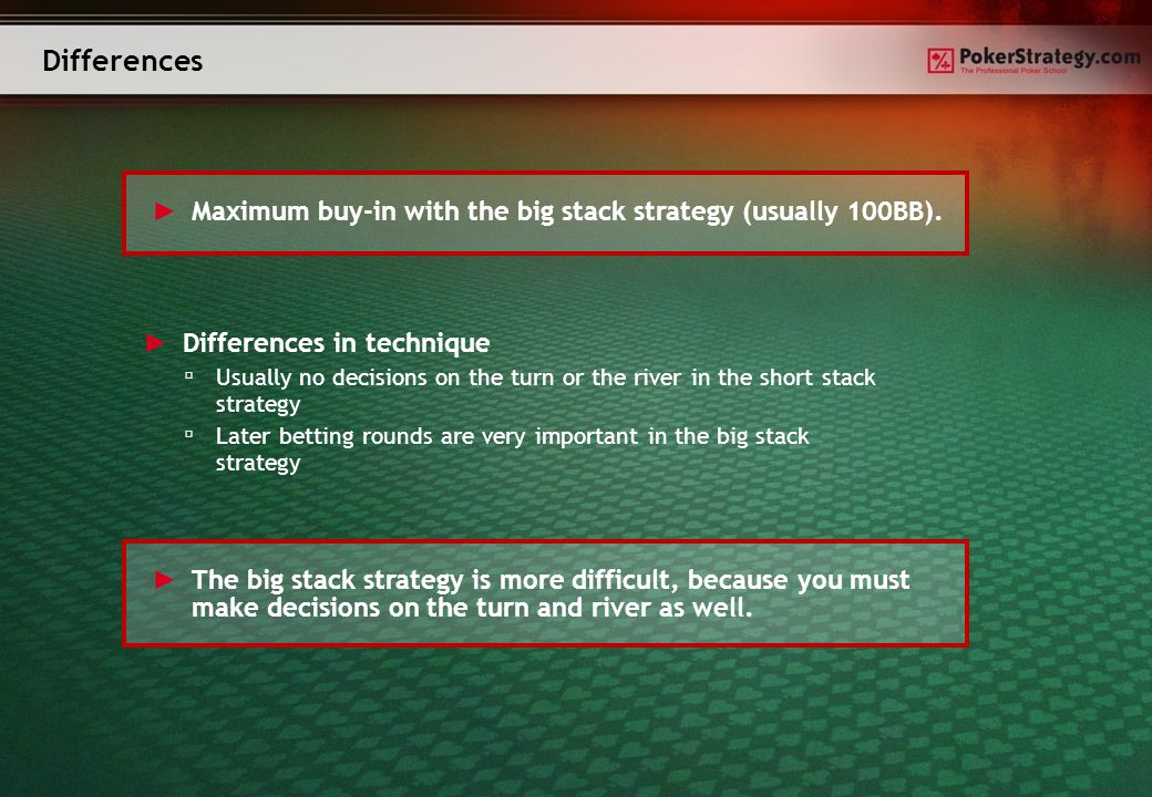 Advantages and disadvantages ► Advantages of the short stack strategy ▫ Easy to learn ▫ Low loss per hand possible ► Advantages of the big stack strategy ▫ Larger wins possible ► Disadvantages of the short stack strategy ▫ Only a small win per hand is possible ► Disadvantages of the big stack strategy ▫ Larger losses possible ▫ Difficult to learn