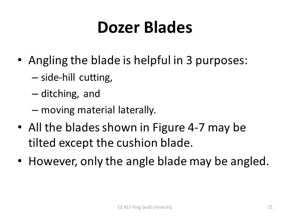 Dozer Blades CE 417 King Saud University12 FIGURE 4-8: Dozer blade adjustments.
