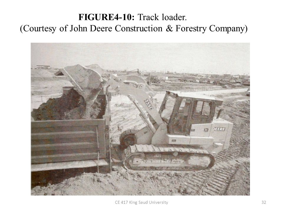 4-3 LOADERS Loaders are used for: – excavating soft to medium-hard material, – loading hoppers and haul units, – stockpiling material, – backfilling ditches, and – moving concrete and other construction materials.