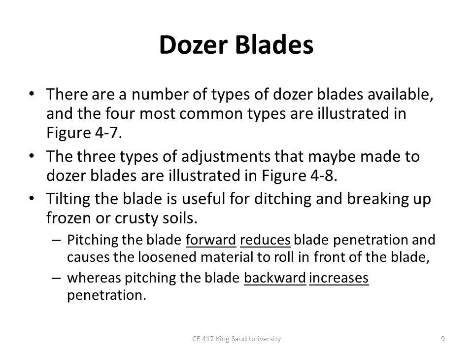 10 Figure 4-7: Common types of dozer blades