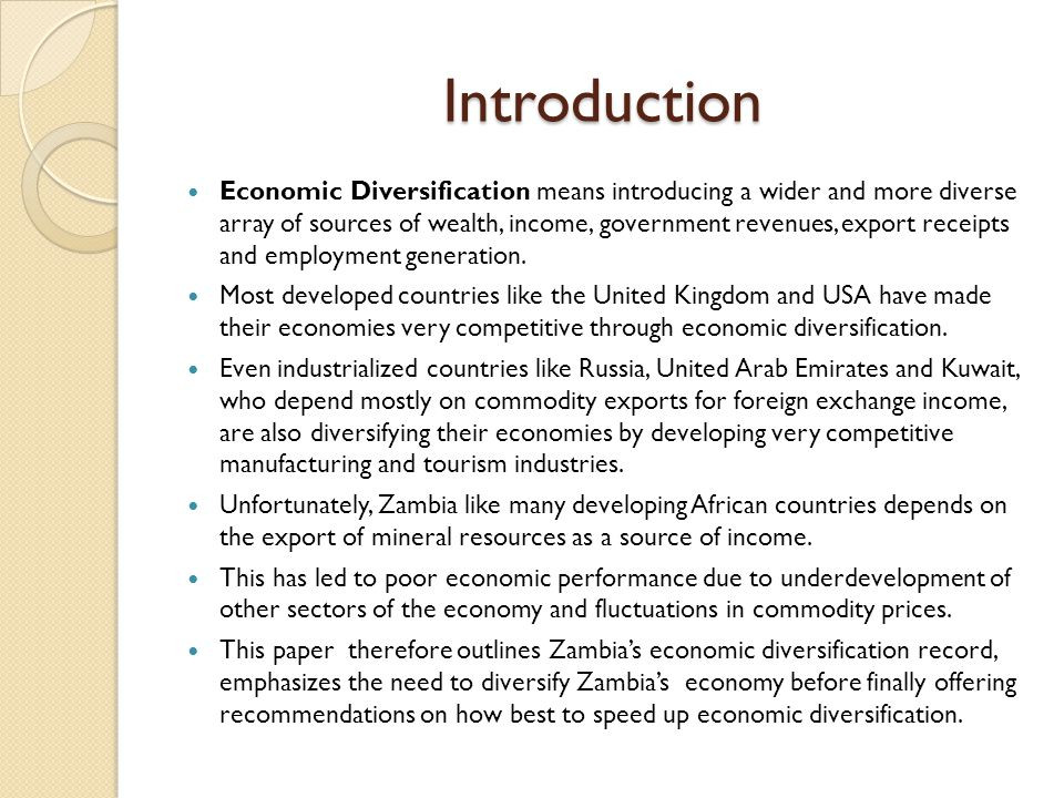 Background of Zambia's Economic Diversification Efforts