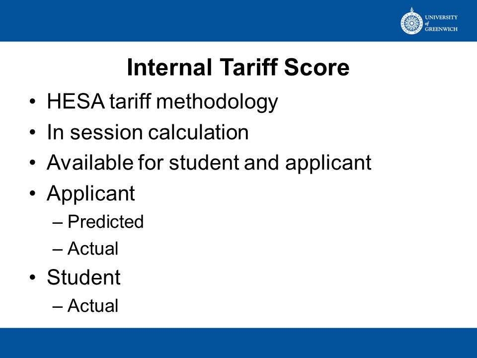 Tariff Challenge 2 Which of the qualifications listed have tariff points? –UCAS –HESA