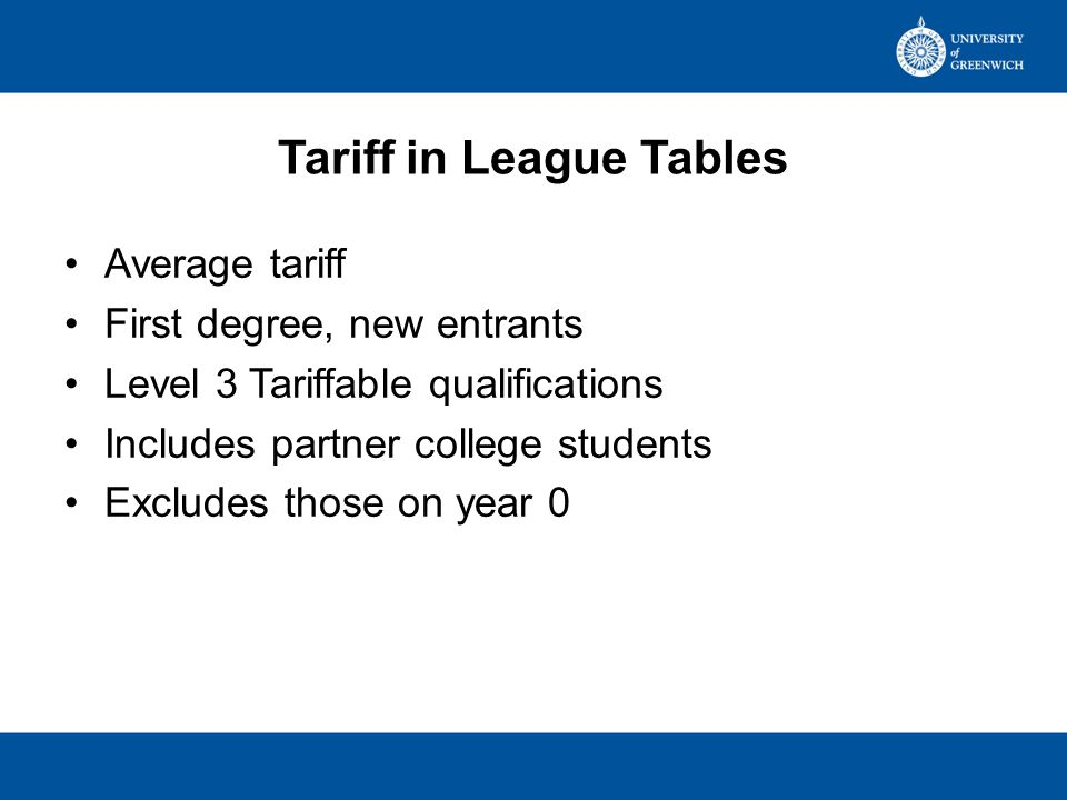 Tariff on entry 2012 Guides TimesCompleteGuardianSunday Times First year, first degree All modesFull-time & sandwich Aged under 21No age limit Excluding those on foundation years Excluding those with 0 tariff points Based on those with A-levels or equivalent, SQA Higher or Advanced Higher, ONC and OND including BTEC, Baccalaureate ----- Ceiling set at 500 points & %-age of available points calculated – scores then halved to give score out of 250 Data from 2009/10 HESA student return i.e.