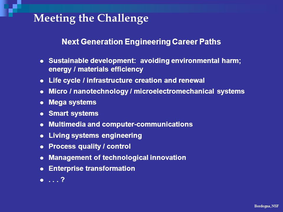 6 Next Generation Engineering Skill Set Systems integration; synthesis Engineering science; analysis Problem formulation as well as problem solving Engineering design Ability to realize products Facility with intelligent technology to enhance creative opportunity Ability to manage complexity and uncertainty Teamwork; sensitivity in interpersonal relationships Language and multi-cultural understanding Ability to advocate and influence Entrepreneurship; management skills; decision making Knowledge integration, education and mentoring