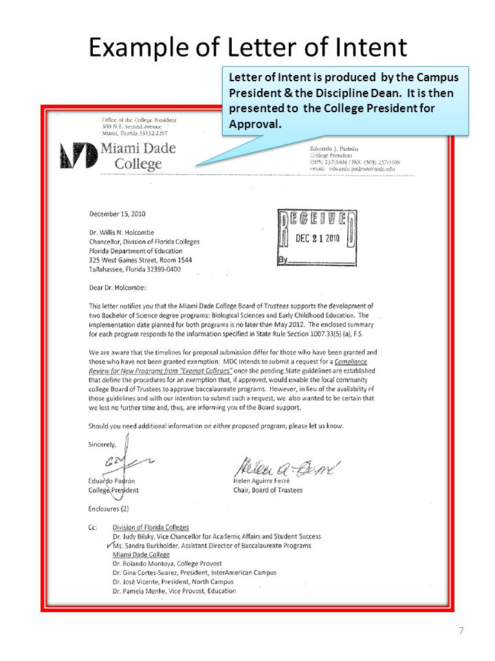 Example of Letter of Intent The discipline should collaborate with the Executive Director for Workforce Education & Partnerships and Institutional Research for back-up documentation.